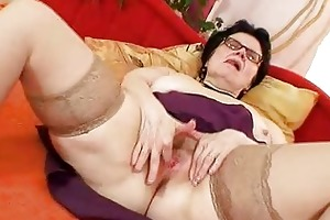 old gran with glasses fingering haired muff