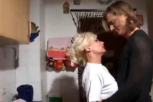 golden-haired german older sex in the kitchen