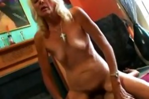 old unshaved floozy doing a reverse cowgirl