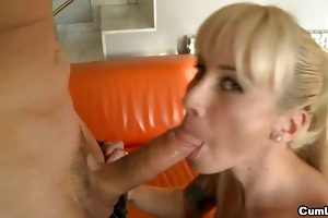 naughty blond honey can to drink cum