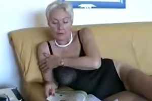 aged lady in sexy underware