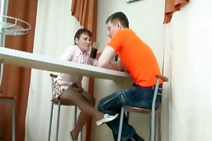 mom is concupiscent as she is gently touches guy