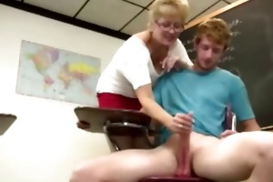 granny teacher tugs her students weenie in the