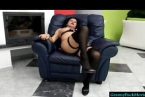 granny with high heels and dark nylons
