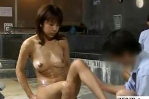 excited milf client bathed at a strange japan