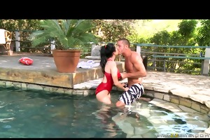 big tit hot pool teacher gives massage &