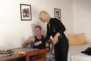 granny golden-haired rides his rigid wang