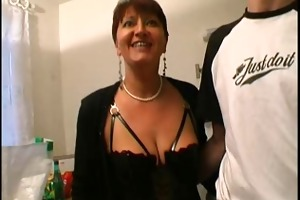 mother i in lingerie and nylons copulates