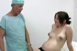 excited doctor acquires a handjob from her preggy