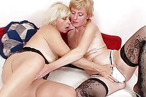 golden-haired milfs giving a kiss licking and