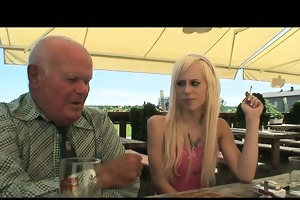 blond hottie fucking an old chap and taking jizz