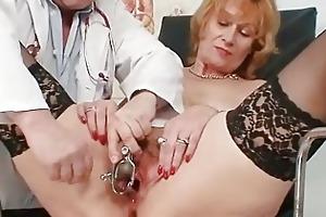 redhead granny indecent cunt stretching in gyn