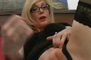 blond milf in glasses engulfing jock