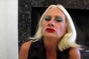 golden-haired old aged tart in fishnets copulates