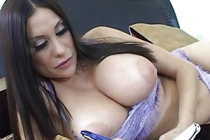 alluring breasty dark brown wife masturbating her
