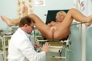 sexually excited old doctor injects a speculum