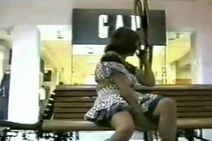 wife tries flashing cunt in public place on bench