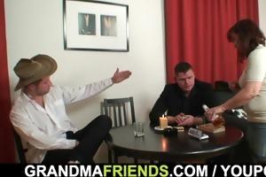poker playing granny swallowing large schlongs