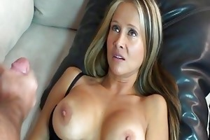 whorish blond mother i in dark lingerie gives