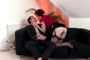 european honey in nylons plays with her pussy and