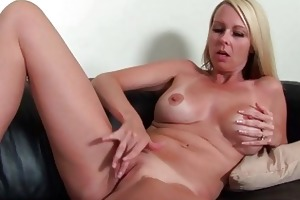 breasty older lady stripping and masturbating