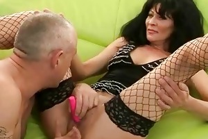 granny in nylons acquires her cum-hole screwed