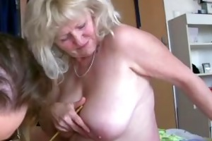 old big overweight woman granny has fun with