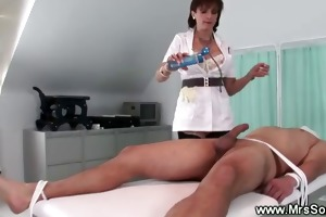 dominant-bitch makes her serf cum on himself