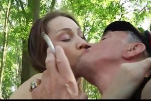 smoking old man bonks cute teeny in the woods