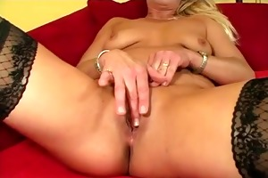 blond cougar twat slammed on daybed