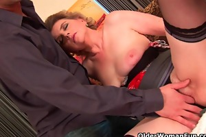 breasty grandma in nylons acquires her hirsute