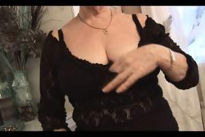 unshaved granny in crotchless pants posing