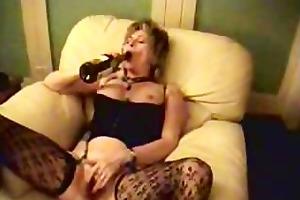 older broad fucking wine bottle