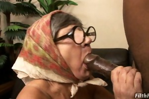 granny gobbles dick and acquires fucked!