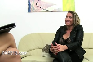 older model fucking on leather daybed