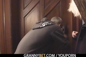 golden-haired granny allows him drill her muff