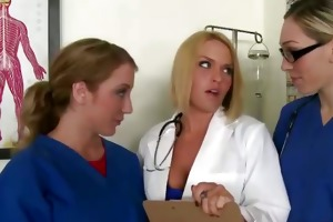 doctor and nurse jacking darksome patients knob