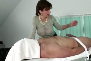 goddess lends him a hand with his hard penis