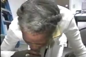 grey haired dark granny givesc great head