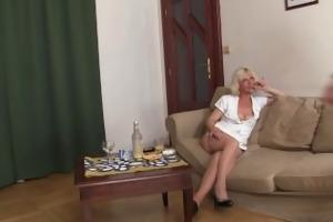 lascivious golden-haired granny double penetration