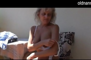 naughty aged older masturbating with toy