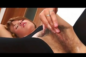 ansie masturbating her soaked unshaved vagina bvr