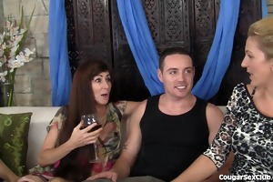 3 lascivious milfs have wild fuckfest with 1 lad