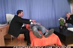 blond granny receives slammed by dicks