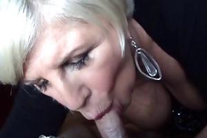 Fellatio Mom - blond granny fellatio and breast