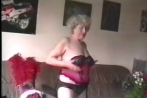 granny fucks a woman with thong on