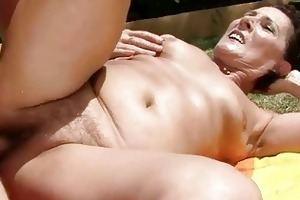 granny getting drilled pretty hard outdoor