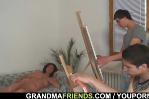 granny is team-fucked by juvenile painters
