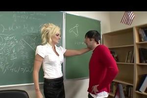 horny big-tit blond school teacher copulates