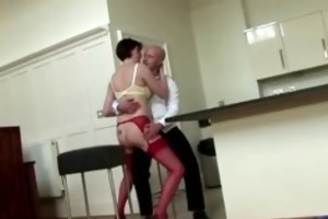 aged british lady shows off her red nylons
